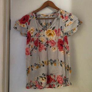 Flutter sleeve floral top